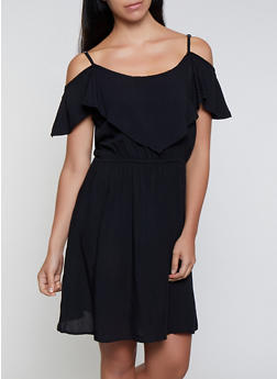 Cold Shoulder Overlay Dress - 0090038340713