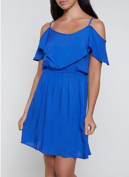 Cold Shoulder Overlay Dress - 0090038340713