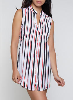Vertical Stripe Tie Waist Shirt Dress - 0090038340714