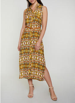 Printed Sleeveless Maxi Shirt Dress - 0090038340715