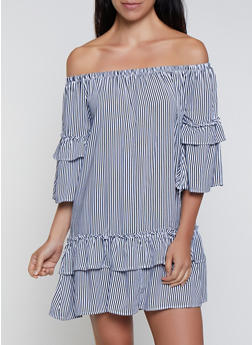 Tiered Off the Shoulder Striped Dress - 0090038340716