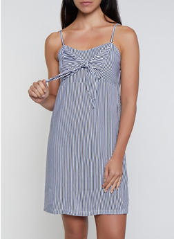 Striped Tie Front Cami Dress - 0090038340717