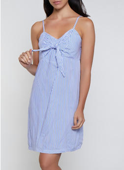 Striped Tie Front Cami Dress - 0090038340717