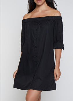 Off the Shoulder Shirt Dress - 0090038340730