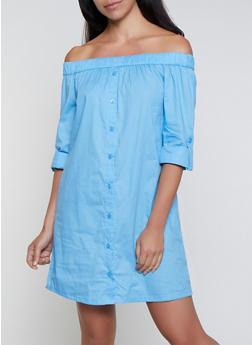 Off the Shoulder Shirt Dress - 0090038340730