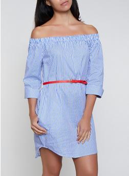 Belted Off the Shoulder Striped Dress - 0090038340731