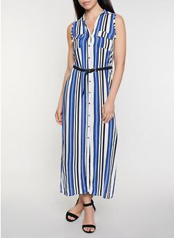 Striped Braided Belt Maxi Dress - 0090038341715