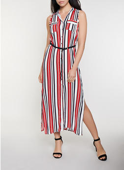 Striped Braided Belt Maxi Dress - 0090038341715