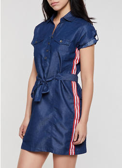 Half Button Tape Trim Denim Dress - 0090038342706