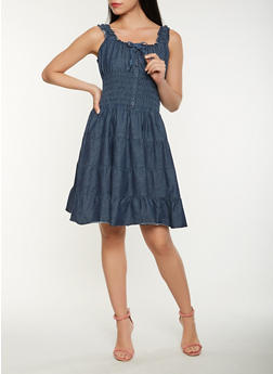 Smocked Denim Skater Dress - 0090038342738 f7486c553