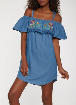 Embroidered Chambray Shift Dress - 0090038349715