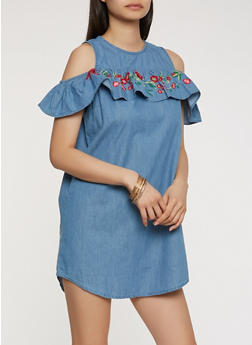 Embroidered Chambray Cold Shoulder Dress - 0090038349716