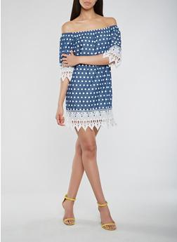 Polka Dot Chambray Off the Shoulder Dress - 0090038349719