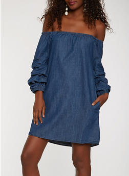 Off the Shoulder Denim Dress - 0090038349734 8cae5012e