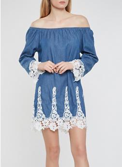 Crochet Trim Denim Off the Shoulder Dress - 0090038349735