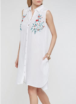 Embroidered Gauze Knit Shirt Dress - WHITE - 0090038349748