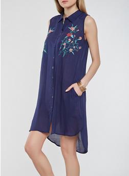 Embroidered Gauze Knit Shirt Dress - 0090038349748