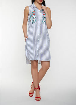 Striped Embroidered Shirt Dress - 0090038349749