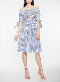 Striped Embroidered Off the Shoulder Dress - 0090038349750