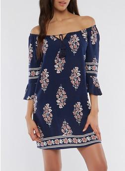 Off the Shoulder Floral Bell Sleeve Dress - 0090051062543