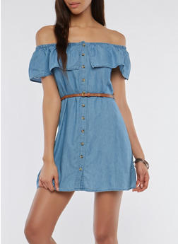 Off the Shoulder Chambray Dress - 0090051063089