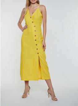Linen Button Front Cami Dress - 0090051063293
