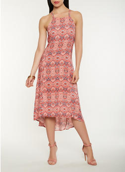 Printed High Low Tank Dress - 0090051063381