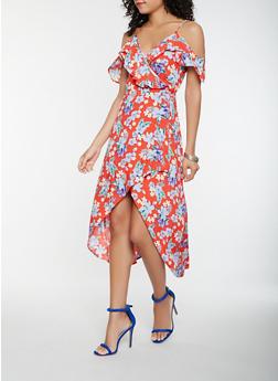 Floral Off the Shoulder High Low Dress - 0090051063534