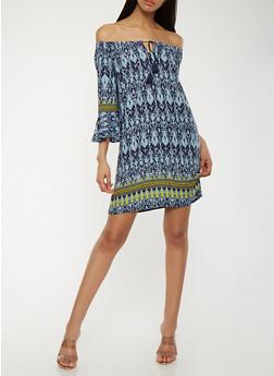Printed Off the Shoulder Peasant Dress - 0090051063543