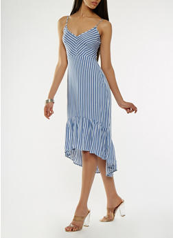 Striped Open Back High Low Dress - 0090051063555