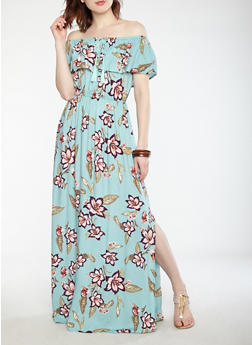Floral Off the Shoulder Maxi Dress - 0090051063618