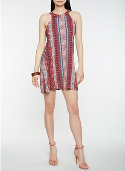 Border Print Shift Dress - 0090051063619