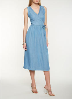 Chambray Midi Wrap Dress - 0090051063665