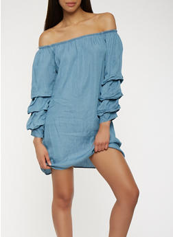 Chambray Off the Shoulder Shift Dress - 0090051063673