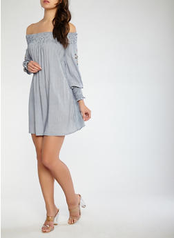 Striped Embroidered Sleeve Off the Shoulder Dress - 0090051063676