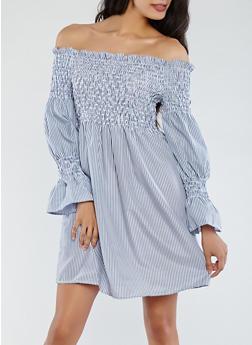 Striped Off the Shoulder Dress - 0090051063679