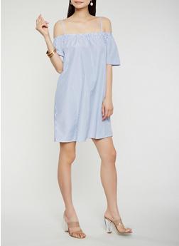 Striped Off the Shoulder Dress - 0090051063683