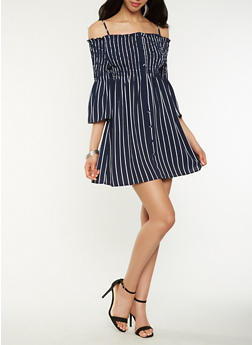 Striped Off the Shoulder Dress - 0090051063768