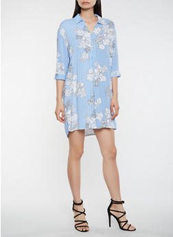 Printed Shirt Dress - 0090051063770