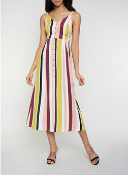 Striped Tie Back Midi Dress - 0090051063896