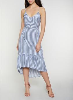 Striped Tie Back High Low Dress - 0090051063965