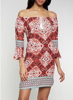 Off the Shoulder Printed Shift Dress - 0090051063969