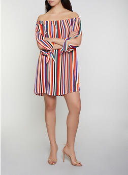 Striped Split Sleeve Off the Shoulder Dress - 0090051064002