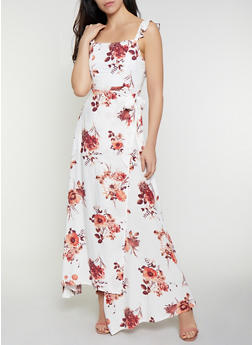 Floral Ruffle Open Back Wrap Dress - 0090051064036