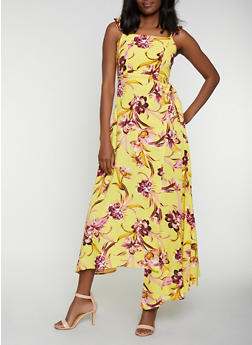 Floral Cut Out Back Wrap Dress - 0090051064038