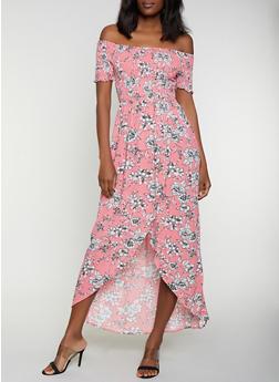 Floral Off the Shoulder Tulip Hem Maxi Dress - 0090051064041