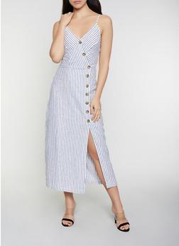 Striped Linen Wrap Dress - 0090051064098
