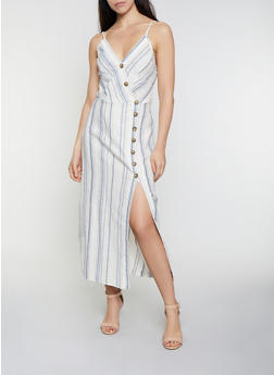 Striped Linen Wrap Dress - 0090051064098