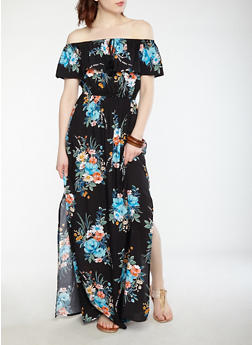 Printed Off the Shoulder Maxi Dress - 0090051064618