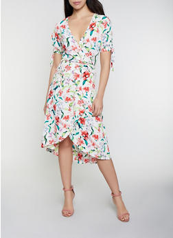 Floral Split Sleeve Wrap Dress - 0090051064956